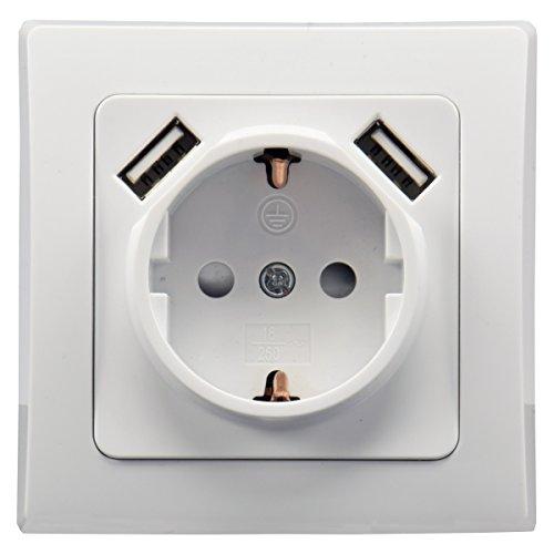 ChiliTec USB 2enchufes Delphi Up protección de Contacto de Enchufe Blanco 2x...