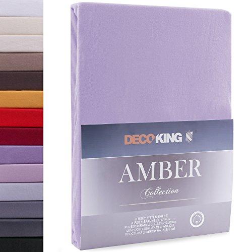 DecoKing 18170 80x200-90x200 cm Spannbettlaken violett 100% Baumwolle Jersey Boxspringbett Spannbetttuch Bettlaken Betttuch Violet Amber Collection