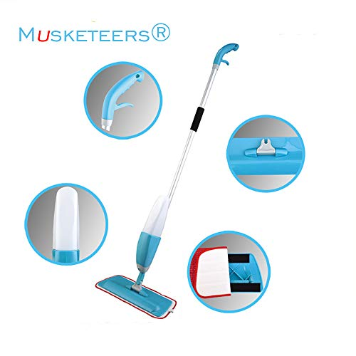 MUSKETEERS Microfiber Multifunctional Stainless Steel 360 Degree Spray Mops for Floor Cleaning with Removable Washable Pad (Blue)
