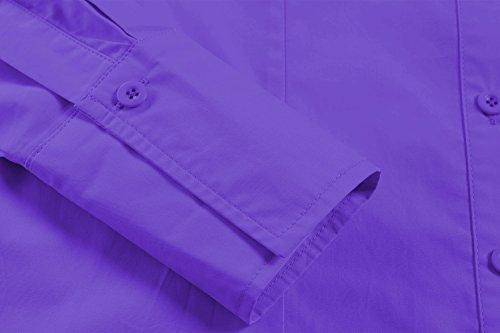 HOTOUCH Damen Hemd Bluse Langarm Hemdbluse Baumwolle Business Hemd Arbeitshemd Freizeithemd Typ1-Lila
