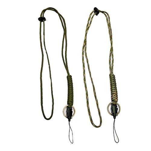 BESPORTBLE 3 stücke Paracord Lanyard Keychain Utility Halskette Seil Schnur Handschlaufe Fallschirm Handy Kamera ID Halter für Outdoor Wandern Camping (Farbe Zufallsgenerator)