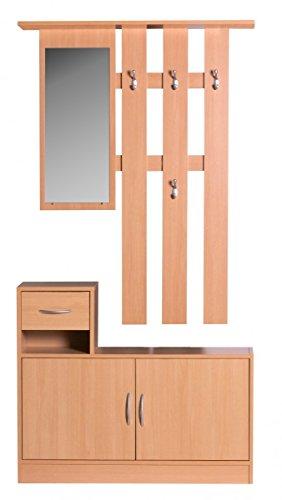FineBuy SERO Garderobe komplett zum aufhängen Flur mit Spiegel Garderoben-Set Wandgarderobe mit Hut-Ablage Holz mit Garderobenhaken hängend mit Unter-Schrank platzsparend 90cm breit 2 teilig Buche