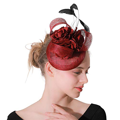 ocktail Party Schleier Hut Stirnband - Party Hochzeit Mesh Net Hut Kopfschmuck mit Haarspange perfekt für Party Festival Urlaub Hochzeit Fascinator Hut ()