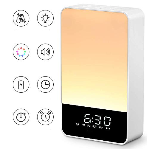 Wake Up Light Lámpara Despertador Luz Nocturna Reloj Digital Regulable Control Táctil LED Mesilla Lámpara Escritorio Adecuado Dormitorio, Amanecer Despertador, 9 Colores Cambio, 5 Brillo Ajustable