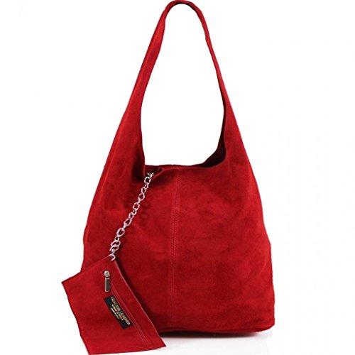 LeahWard Damen Echtes Leder Wildleder Umhängetaschen mit freiem Beutel Tasche große Größe Tasche für Frauen weiches leichtes Gewicht (Orange) Rot