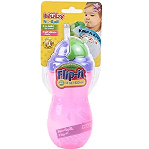 Nuby Flip it leak-resistant thin straw bottle-420ml - Color May Vary