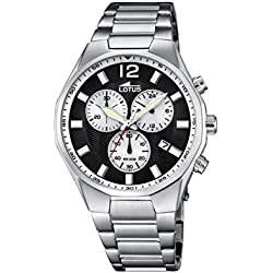 Lotus Men's Quartz Watch with Black Dial Chronograph Display and Silver Stainless Steel Bracelet 10125/2