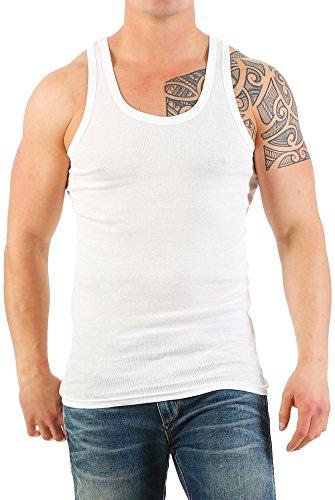 2er Pack Herren Unterhemd Extra Lang (Muskelshirt / Achselhemd) Nr. 398 weiß