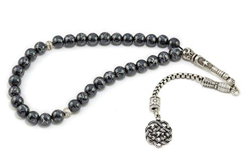 Gök-Türk Elegante Gebetskette - Tesbih 'Orientalisches Ornament', ColorName:Grau