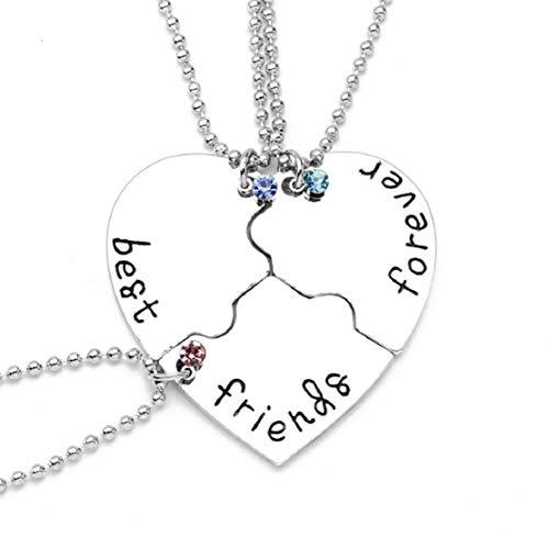 Vaycally European American Jewelry DREI Herzen Herzförmige Diamantbesetzte Freunde Paar Halskette Elegant Charmant Einfache Mode Wild Lässig Anhänger Schmuck