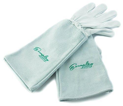Exemplary Gardens Rosen Gartenhandschuhe für Damen und Herren. Ziegenleder Gartenhandschuhe haben eine Lange Rindsleder Manschette zu Schützen für Ihre Arme, bis der Ellenbogen (groß, natürlich)