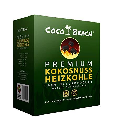 CocoBeach Premium Heizkohle | 10 kg | 100% beste Kokosnuss-Kohle für Qualität im Kamin | Ofen | Grill | BBQ | Nachhaltiger Rohstoff | Keine klimafeindliche Steinkohle - Braunkohle | Profi Grillkohle