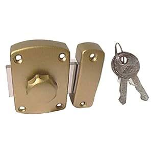 Brico-materiaux - Verrou SOS bronze / Avec 1 cylindre + 2 clés - 33
