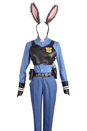 2016 Film Zootopia Officer Kaninchen Judy Hopps Polizei Uniform Cosplay Kostüm für Erwachsene mit Rabbbit Ohr