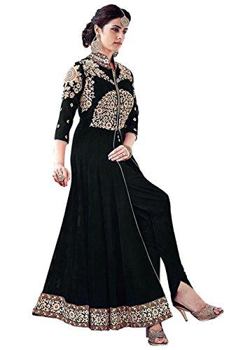 Designer Desk Women's Georgette Anarkali Dress Material (123F4F05Dm_Black_Free Size)