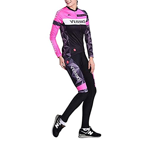 Brave Pioneer Femme Cyclisme Vélo Maillot Manches Longues Jersey Pantalon Coussin de Siège Tops Séchage Rapide Vélos VTT Cycle Bike Shirt (Type 5, XL)