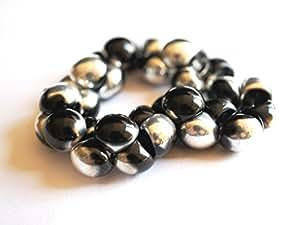 """Tschechische Glasperlen, 25 Stück, Mushroom Perlen """"Buttons"""" 9 x 8 mm-Jet Silber (Jet Labrador)"""