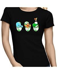 T-Shirt Manga - Parodie de Bébé Yoshi de Super Mario World face à Salamèche et Carapuce de Pokémon - Bizarre ces deux là !! - T-shirt Femme Noir - Haute Qualité (885)