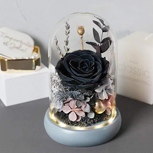 CFLYSH Ewiges Leben Blume Geschenkbox Glasabdeckung Valentinstag Geburtstag Abschluss Geschenk Bär Blume Rose Strauß Blumenstrauß Für Freundin, Lebenslange Liebe - Schwarz -