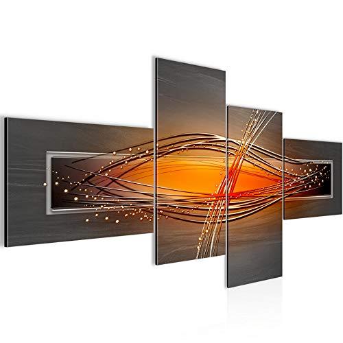 Bilder abstrakt Wandbild 150 x 60 cm Vlies - Leinwand Bild XXL Format Wandbilder Wohnzimmer Wohnung Deko Kunstdrucke Orang 4 Teilig - Made IN Germany - Fertig zum Aufhängen 103345a -