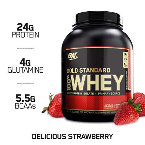 Optimum Nutrition Gold Standard Whey Protein Pulver (mit Glutamin und Aminosäuren. Eiweisspulver von ON) Delicious Strawberry, 77 Portionen, 2,27kg -