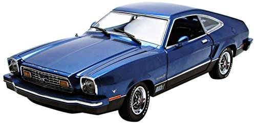 GreenLight 1976 Ford Mustang II Mach 1 Blue and Black Vehicle (1:18 Scale) (1 18 Scale Diecast Greenlight)