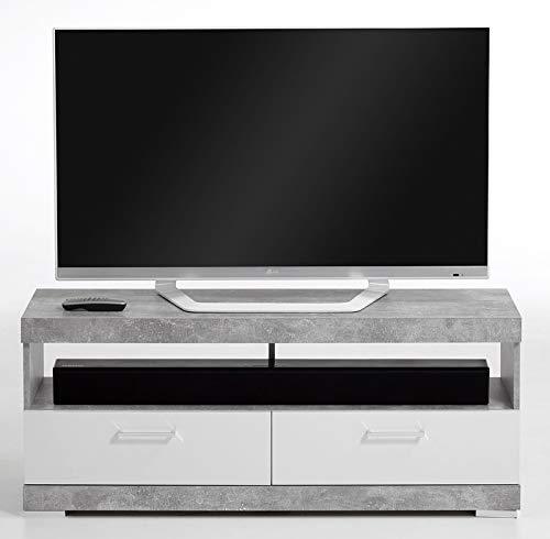 PEGANE Meuble TV en Panneaux de Particules, Gris béton LA/Blanc Brillant - Dim : L.120 x H.50 x P.35 cm
