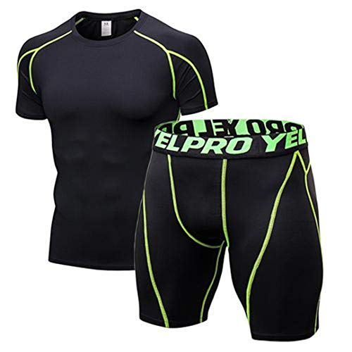Z-Pertbil Compression Gym Enge Kleidung MäNner JogginganzüGe Sport-Sets Fitness-Bekleidung Black Green XXL