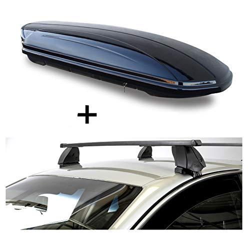 Dachbox VDPMAA320 320 Liter abschließbar schwarz + Dachträger K1 MEDIUM kompatibel mit Opel Zafira (C) Tourer (5Türer) ab 11