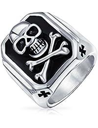 Bling Jewelry Black Enamel Mens Skull and Cross Bones Ring Stainless Steel