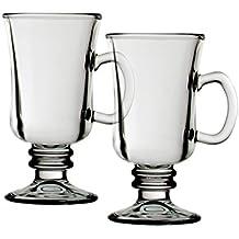 I Style irlandés taza de café, vidrio, transparente/blanco, Juego de 2
