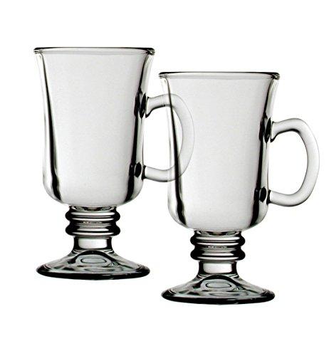 I Style-Irish-Tazza da caffè, in vetro, colore: trasparente/bianco, Set da 2