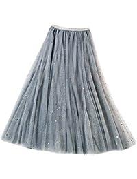 Mxssi Gonna Lunga di Tulle Elegante e Scintillante Casual Gonna con Tre Strati  Donna Principessa Petticoat Maxi… 995e763e54e