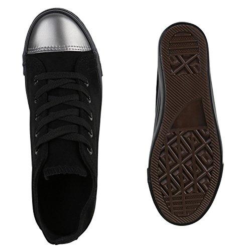 Sneaker-Wedges Damen Zipper Sneakers Turnschuhe Keil Absatz Schwarz Metallic