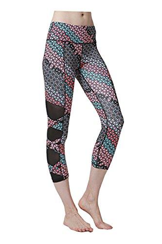 Lotus Instyle Damen Cropped Hose Mesh-Einsatz Lauf Capris Leggings Floral-L (Floral Capri Cropped Pants)