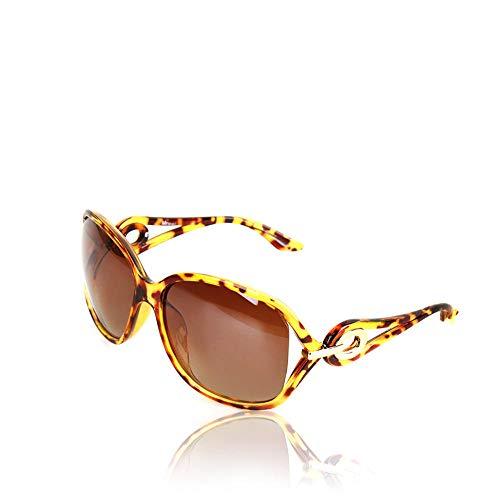 CYCY großen Rahmen polarisierte Sonnenbrille Damenmode UV-Schutz Sonnenbrille Gläser Fahrspiegel Polarisator Dunkelbraun @ Bernstein