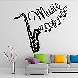 WSLIUXU Adesivi murali strumenti trombone creativi Cameretta rimovibile Vinile Moda Musica Adesivo murale Carta da parati autoadesiva Viola L 43 cm X 46 cm