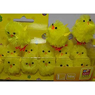 Arti Casa 16x Easter Chick Chenille Funny Plush Chick Family Easter Bouquet Table Decoration
