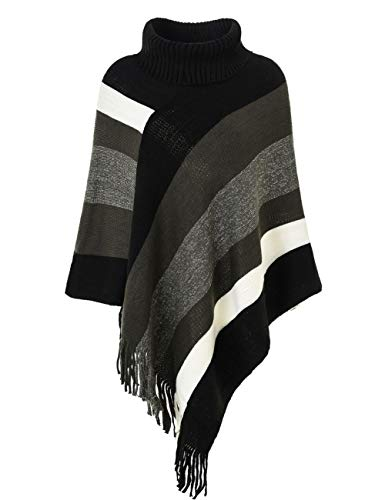 Ferand poncho dolcevita per donna lavorato a maglia con design avvolgente e frange, stile dolcevita aggiornato: nero & grigio
