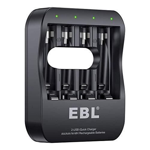 Cargador Rápido de Pilas, 40 Minutos Carga Completa Cargador Inteligente para AA AAA Pilas Recargables con 2 Modos Cable (Micro USB y USB-C)