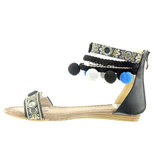 Angkorly Damen Schuhe Sandalen - Offen - Bommel - Multi-Zaum - Geflochten Blockabsatz 1.5 cm Schwarz