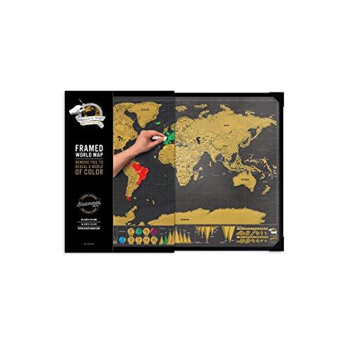 Luckies of London Weltkarte zum Rubbeln mit Rahmen - Das Original Scratch Map, Deluxe, Groß, 82,5 x 59,4cm