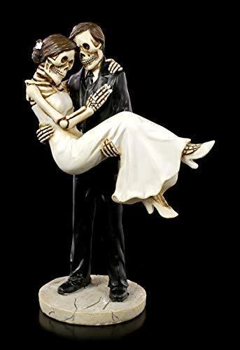 paar Figur - Braut trägt Bräutigam | Hochzeits-Deko, handbemalt, H 16 cm ()