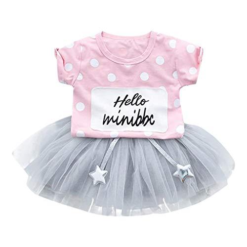 YWLINK Kleinkind Kid Mode MäDchen Polka Dot Kurze ÄRmel Tops + TüLl Rock Tutu Kleider Outfits Set(Rosa,3-6 Monate)