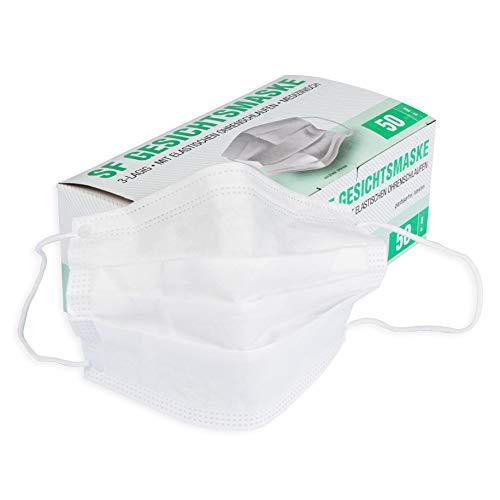 Mundschutz Maske mit elastischen Ohrschlaufen 3-lagig, ohne Gurtband, 50 Stück Box (Weiß)