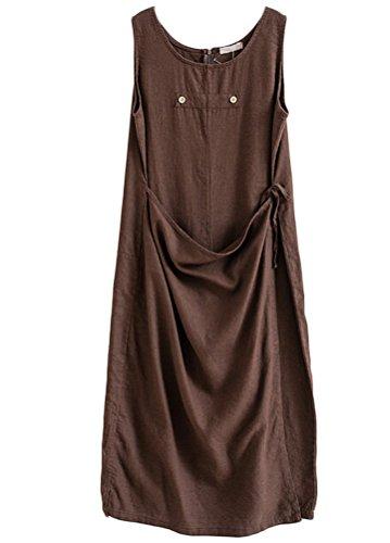 MatchLife Femme Sans Manche Robe Jumpsuit Pantalon Café