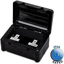 Modern Double Black Durable Plastic Weatherproof Outdoor Garden Garage 2 Gang Seal Secure Cover Plug Socket - IP66 Rated