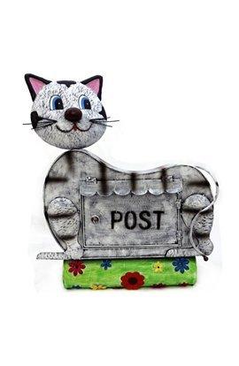 Briefkasten Katze mit Zeitungsrolle aus Metall4018116125803
