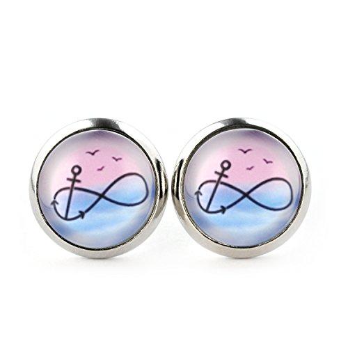SCHMUCKZUCKER Damen Ohrstecker Unendlichkeit Anker Edelstahl Ohrringe Silber Pastell Rosa Blau 12mm