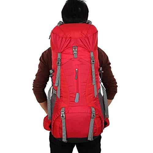 LF Wasserdicht große Rucksack kapazität daypacks Outdoor reiserucksack Herren und Frauen Outdoor Camping Tasche, Reise Rucksack blau/rot/schwarz/grün (Color : Red, Size : 77cm)
